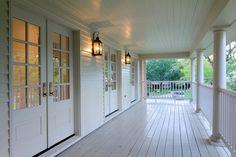 painted floor, doors, lanterns