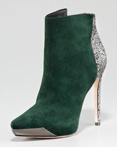 Suede & Glitter Bootie by Rachel Roy at Neiman Marcus.  will probably have limited wear but i'll take them anyway!