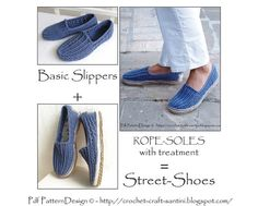 2in1-PACKAGE for Tailored CORD-Soles / Sole Treatment and Denim- Crochet Slippers - Instant Download