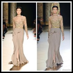 Wholesale Evening Dresses - Buy 2014 Elie Saab Gray Vintage Long Sleeve Sheath/Column Chiffon Pageant Evening Dresses Lace Front Slit Formal Women's Party Prom Gowns, $149.68 | DHgate