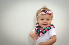 Coral, Teal, Black and White Tribal Infinity Scarf - Matching Bow Option - Baby, Toddler, Child - One Size Fits Most - Great for Spring!