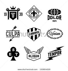 vintage labels with shield, crown, arrow, wing - stock vector