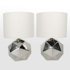 Sculptural Nickel Plated Lamps