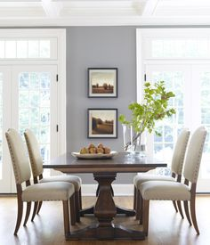 neutral interiors. ethan allen dining room. country french dining