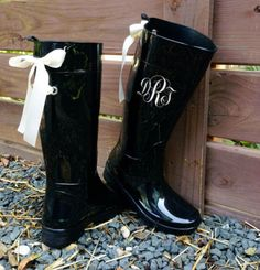Monogramed Black Gloss Rain Boots with Ivory Bows All Sizes