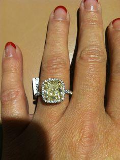 Yellow cushion cut diamond engagement ring by LeVian! LOVE IT!!!