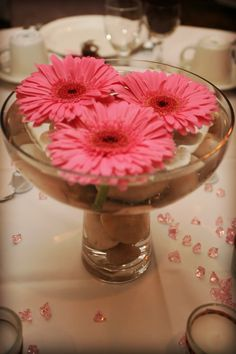 Gerber daisy center peice-maybe on a plate instead though Daisy Centerpieces, Christmas Centerpieces, Centrepiece Ideas, Perfect Wedding, Our Wedding, Dream Wedding, Wedding Ideas, Daisy Bridal Bouquet, Gerber Daisies