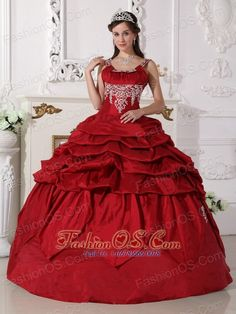 Gorgeous Wine Red Quinceanera Dress Scoop Taffeta Beading Ball Gown  http://www.fashionos.com  Want to become a princesss on your quinceanera day? Here is the dress to make your dream come true! This chic burgundy quinceanera dress is featured with a special bodice with the mid-section adorned with beaded embroidery and straps encrusted with beadings. The pick ups and handkerchief hemed pieces of fabric on the skirt add beauty and grace to the dress.