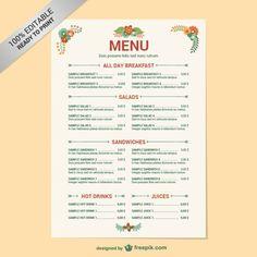 Modelo de menu do restaurante editável