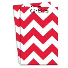 Personalized Red Chevron Notepad