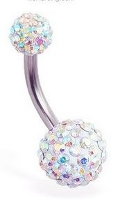 Iridescent Bedazzled Belly Button Ring