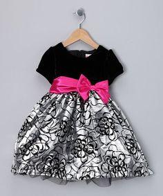 Look what I found on #zulily! Black & Silver Flower Dress - Toddler #zulilyfinds