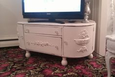 listing for susan kenny shabby tv stand chic antique white distressed vintage flat tv cottage entertainment prairie Shabby Chic Entertainment Unit, Shabby Chic Tv Stand, Flat Screen Tv Stand, Flat Tv, Cabinet Making, Vintage Tv, Oak Cabinets, Drawer Fronts, Dresser As Nightstand