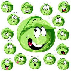 Buy Cabbage Cartoon with Many Expressions by hanaschwarz on GraphicRiver. cabbage cartoon with many expressions isolated on white background Vegetable Cartoon, Cartoon Expression, Cute Fruit, Cartoon Faces, Best Fruits, Busy Book, Fruit And Veg, Emoticon, Clipart