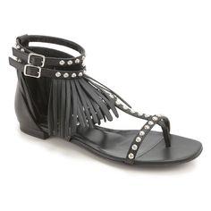 Saint Laurent black leather fringe sandals (375352 CYUK0 1000) - Bledoncy