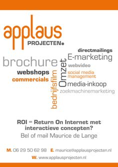 Applaus Projecten Maurice de Lange webshop, commercial, e-marketing, directmailing, media-inkoop, bedrijfsfilm, facebook, linkedin,twitter,social media