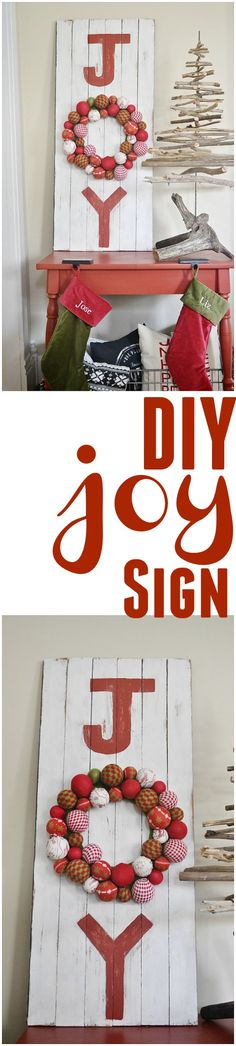 DIY Joy Sign - Create this rustic Christmas Joy sign easily & for next to nothing!