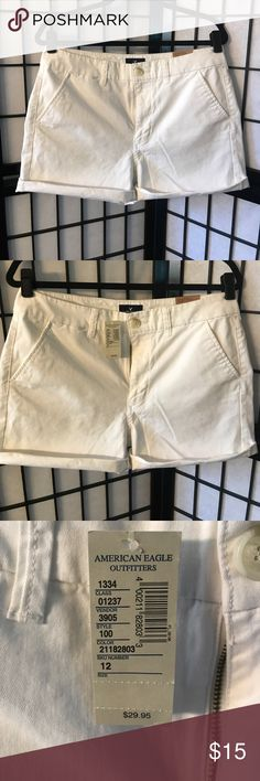 NWT White American Eagle Hi-Rose Shorts. Size 12. NWT White American Eagle Hi-Rose Shorts. Size 12. American Eagle Outfitters Shorts Skorts