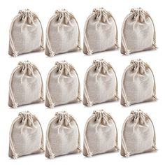MIAOMIAO set of 12 reusable cotton double drawstring Bags Machine Washable gift bags Natural Linen Pouches for Gift Packaging Perfect for Wedding and Other Giveaways ** Check out the image by visiting the link.Note:It is affiliate link to Amazon.