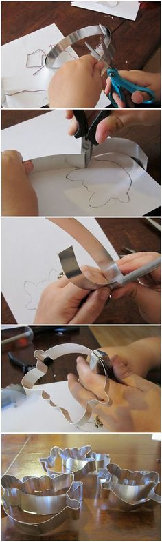 DIY Cookie Cutter -- (1) use string to measure the length of aluminium you'll need (2) use small pliers for corners, knife sharpener for curves (3) use sandpaper to scorn metal for joint