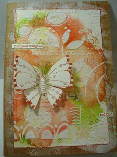 Mixed Media Cards, Texture Paste, Mail Art, Stamp Collecting, Art Journals, Stencils, Wings, Watercolor, Make It Yourself