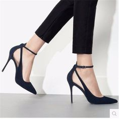 - Classy point toe ankle strap casual heels for the modern fashionista - Lovely design offers a trendy stylish look - Great for a casual day out or special occasion - Made from PU - 9 cm heel height