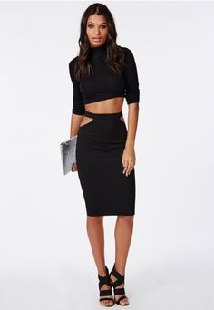 Ribbed Cut Out Midi Skirt Black - Skirts - Missguided