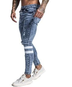 Gingtto 2019 New Men Skinny Jeans Skinny Slim Fit Stretchy Blue Jeans Big Size Cotton Lightweight Comfy Hip Hop White Tape Blue Jeans, Blue Denim, Hip Hop, Black N Red, Suit Combinations, Super Skinny Jeans, High Jeans, Slim Fit, Federal