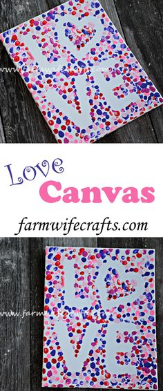 Valentine\'s Day Fingerprint Love Canvas - The Farmwife Crafts