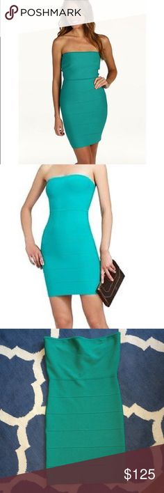 BCBGMAXAZRIA Alyona Bandage Dress Bcbg maxazria alyona seagreen strapless bandage bodycon cocktail dress. size m. msrp $298.00.   Color: seagreen.         Material: 86% rayon, 13% nylon, 1% spandex.     strapless and form fitting bandage-style construction. stretch ponte construction creates an ultra-fitted silhouette boning at the bodice adds structure. High-waisted skirt sports a chic bandage design. exposed back zip closure. Center back zipper with hook-and-eye closure measurements…