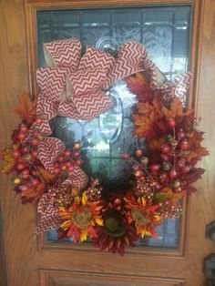 Wreath I made for front door of our home! Love fall!