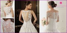 Svatební šaty s krajkou nahoře: zavřeno styly s rukávy a široká sukně