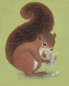 Squirrel Gets a Letter by HuldufolkHouse on Etsy, $25.00