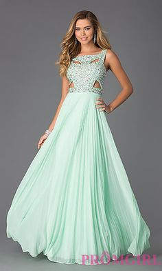 Sleeveless Floor Length Dress with Pleated Skirt by Betsy and Adam at PromGirl.com