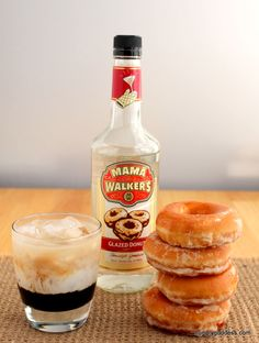 Mama Walkers Glazed Donut Liqueur with Donut with Coffee and Cream Cocktail from The Hungry Goddess