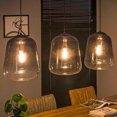 3-lichts hanglamp verchroomd glas   Santa Lisa   LUMZ Contemporary Bathroom, Interior Design Mood Board, Lamp, Edison Light Bulbs, Modern Cozy Living Room, Home Decor, Vintage Farmhouse Kitchen, Pendant Light, Bohemian Style Bedrooms