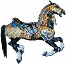 """Spokane Antique 1909 Looff Carrousel    """"Prince is the lead horse (or king horse) on the carousel. The lead horse is always the outside horse in row 13!    He has had his name as far back in the history of our carousel as anyone can remember. It's not known who gave him his name, but it's a fitting name for an armored, medieval prince of a horse!"""""""
