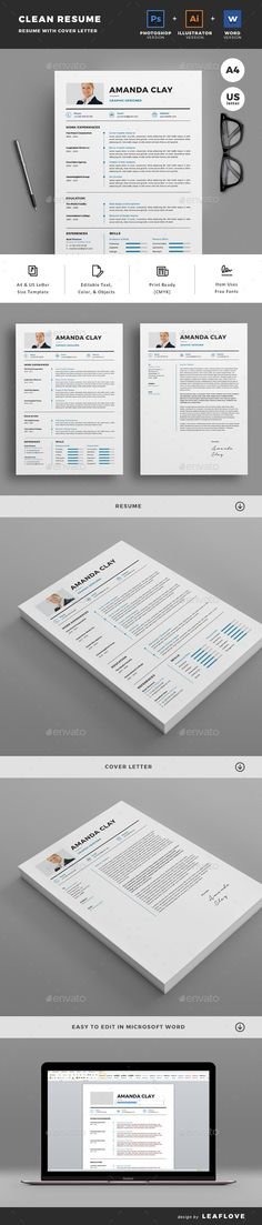 Clean Resume Word\/Indesign Template Resume Pinterest Resume - how to make a resume in word