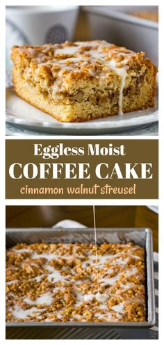 Make the best tender and moist coffee cake loaded with double dose of streusel . via CarveYourCraving by Khushboo Eggless Coffee Cake recipe with walnut streusel (eggless tea time cake) carveyourcraving kkothar Eggless Coffee Cake Recipe, Eggless Desserts, Eggless Recipes, Eggless Baking, Vegan Desserts, Baking Recipes, Vegan Baking, Eggless Muffins, Vegan Treats