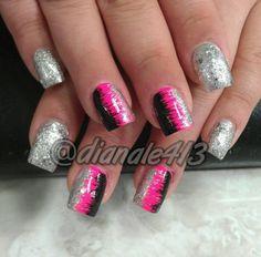 #nails #naildesign #nailart #naildesigns #nailarts #nail #crazynailart #crazy #glitter #followme #pretty #cute #fashion #sexy #designs #design #nailpolish #girls #nailjunkie #acrylics #manicure #nailtrend #nailaddict #nailporn #pink #black #glitter #silver