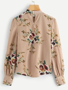 SheIn offers Bishop Sleeve Floral Print Blouse & more to fit your fashionable needs. Stylish Dress Designs, Stylish Dresses, Floral Blouse, Printed Blouse, Blouse Styles, Blouse Designs, Girls Fashion Clothes, Fashion Outfits, Fancy Tops