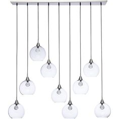 """Shop firefly II pendant light.   Industrial modern chandelier by Mark Daniel suspends nine glass globes from nickel-finished iron canopy.  Pendants stagger in length on black cords 19"""" to 52"""".  Great look with filament bulbs or our 25W candelabra bulb."""