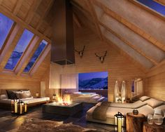 The Alpina Gstaad  by HBA London - chalet exterior, contemporary chic interior