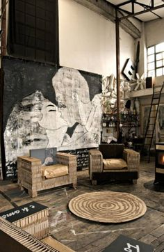 industrial living; what an organized mess; like the set of colors; and love the painting.