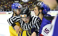 Referee Tim Meyer intervenes in a skirmish between Sweden's Jesper Pettersson (L) and Slovakia's Mario Lunter during the World Junior Hockey. World Junior Hockey, Kevin Pietersen, Hockey Tournaments, Referee, Over The Years, Mario, History, Day, Pictures