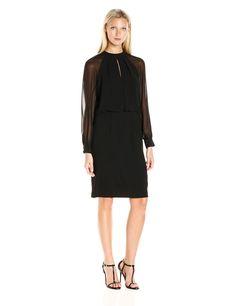 Adrianna Papell Women's Slit Blouson Dress W/ Bishop Sleeve