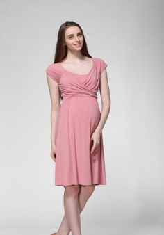 Nursing Dress in Pink Maternity Breastfeeding Clothes by ModMums