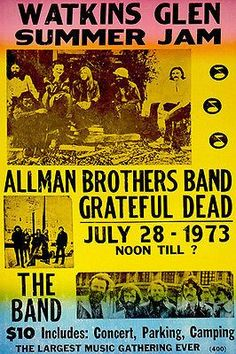Allman Brothers - Grateful Dead - The Band - 1973 - Watkins Glen Concert Poster