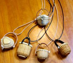 miniature baskets as pendant tops