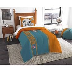 Nfl Dolphins Comforter Twin Set Blue Orange Football Themed Bedding